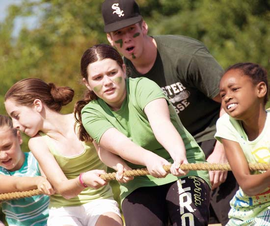 Members of the Green Team from the Boys and Girls Clubs of Dorchester one of many activities offered at Camp Northbound in Bridgton, Maine. The Mark Wahlberg Youth Foundation sponsored the program again this year. More news about the club's activities is on Page 14.